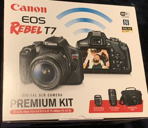 Canon - EOS Rebel T7 DSLR Two Lens Kit with EF-S 18-55mm and EF 75-300mm Lenses & Bag NEW for Sale in Doral, FL