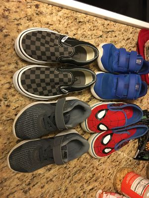 Little boys shoes. Brand new vans never worn size 11.0 2 pairs of used Nike size 10.0 and Spider-Man size 11.0 for Sale in Casselberry, FL