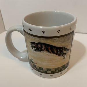 1986 Lowell Herrero Leaping Cat Coffee Mug Windup Toy Mouse 2 sided Japan Vandor for Sale in Stockton, CA
