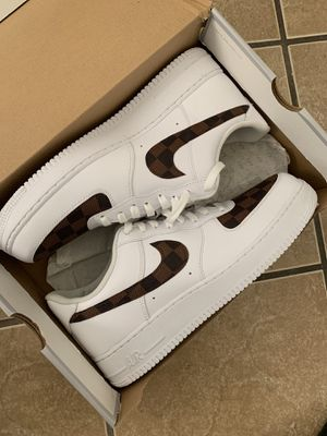 "new style 7415f 94b8d Custom Nike Air Force 1 ""Brown Damier Louis Vuitton"" for Sale in Los Angeles"