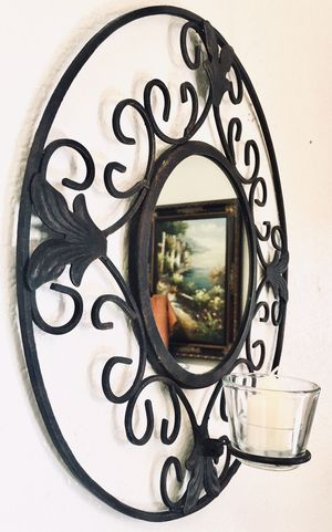 Vintage wrought iron wall accent mirror candle holder W16xD4 inch for Sale in Chandler, AZ