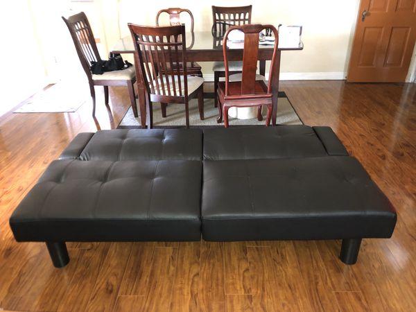 Genuine Black Leather Futon