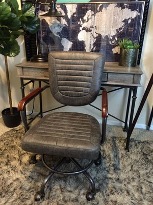 Grey Rustic one Drawer writing desk and rustic swivel task chair for Sale in San Diego, CA