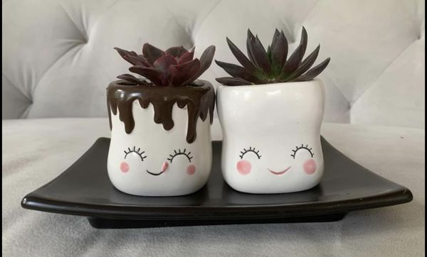 Ceramic handmade pair of Palme pots