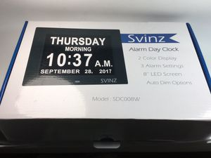 "SVINZ 8"" Digital Calendar Alarm Day Clock with 3 Alarm Options, extra large for Sale in Glendale, CA"