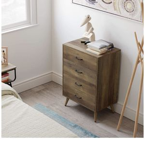 4-Drawer Dresser, Rustic Wood Chest of Drawers for Bedroom, Dresser Chest with Wide Storage Space, Tall Nightstand Multifunctional Organizer Unit, Ac for Sale in Burr Ridge, IL