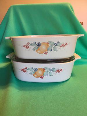 2 CorningWare Abundance 2L Casserole Dish / 1 Pyrex Lid for Sale in New Castle, IN