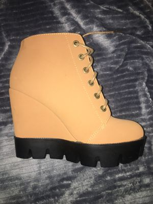 Faux Fur Lace Up Wedge Boot, Size: 7 for Sale in Germantown, MD