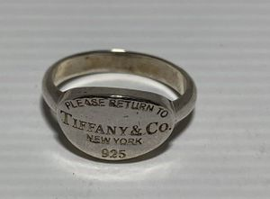 Please Return to Tiffany & Co. 925 Sterling Silver Oval Ring Size 6 1/2 for Sale in San Diego, CA