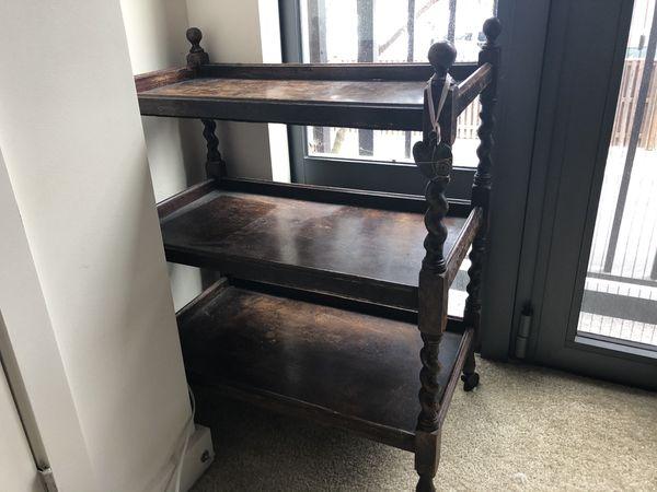 Antique wood wheeled shelf/tray