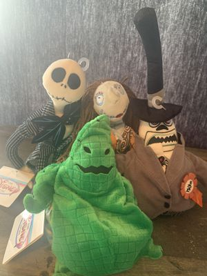 """The Disney Store Nightmare Before Christmas Mini Bean Bags set of 4, Jack 13"""", Sally 11"""", Mayor 8"""", Oogie Boogie 8"""" for Sale in Vancouver, WA"""