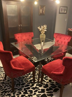 Pier 1 glass top dining table with four red velvet chairs for Sale in Eureka, MO