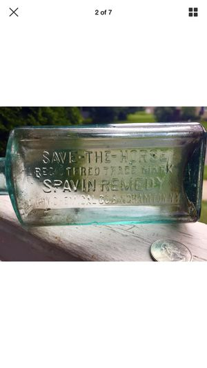 "Rare antique hand tooled Vet bottle. It's embossed ""Save the Horse"" registered Trademark Spavin Cure Troy Chemical Co. Binghamton NY.Bottle measures for Sale in Pembroke Pines, FL"