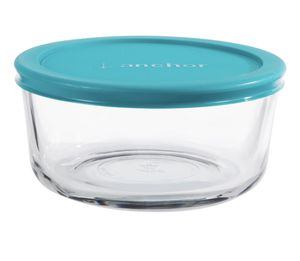Anchor hocking 4-cup round food storage container with teal lid for Sale in Dallas, TX