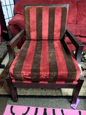 Retro red and brown stripped chairs for Sale in Bend, OR