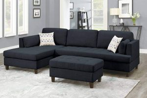 MID CENTURY MODERN BLACK POLYFIBER LINEN SECTIONAL SOFA REVERSIBLE CHAISE OTTOMAN / SILLON NEGRO SECCIONAL for Sale in Downey, CA