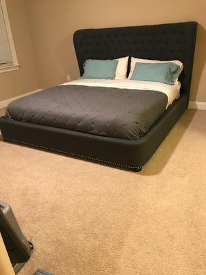 Dark grey sleigh Bed w/ pillow top mattress for Sale in Atlanta, GA
