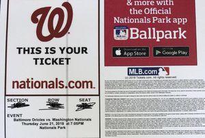 Baltimore Orioles vs Washington nationals for Sale in Bristow, VA