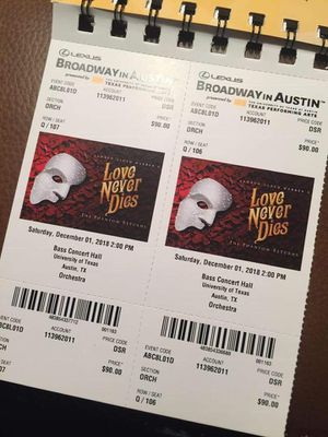 Broadway show love never dies for Sale in Austin, TX