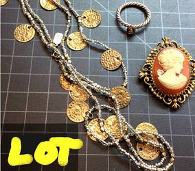 "Mixed lot with 925 stamped necklace 18"" Vintage cameo brooch and silver/gold tone ring for Sale in East Providence,  RI"