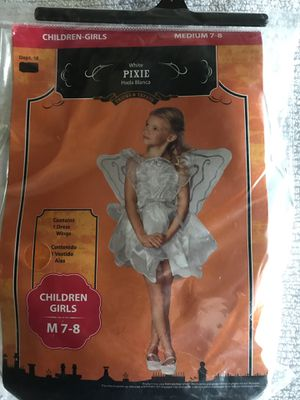 Fairy Pixie white Girls Costume size M 7-8 for Sale in Babson Park, FL