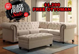 Beautiful Sectional Couch Sofa with FREE OTTOMAN for Sale in Plano, TX