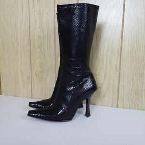 Charles David Blacksnake Skin Print Genuine Leather Boots Womens Size 6.5 Made In Spain for Sale in Redmond, WA