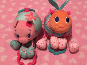 Lot of 2 bright starts stroller car seat toy pink girl for Sale in Valley Stream, NY