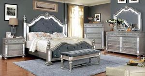 $1,999 AZHA COLLECTION BLACK OR SILVER 4 PIECES QUEEN BEDROOM SET INCLUDED QUEEN BED FRAME DRESSER MIRROR AND ONE NIGHT STAND Lavish update with th for Sale in Chino, CA