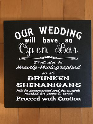 Wedding open bar sign for Sale in Valrico, FL