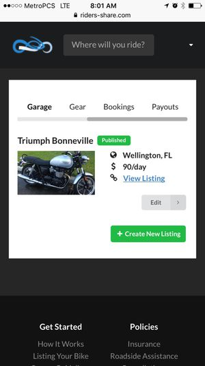 RENT OUR BONNEVILLE TRIUMPH for Sale in Wellington, FL
