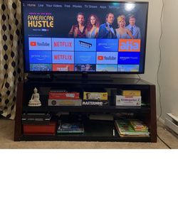 samsung 55 inches TV + Amazon fire stick + Great quality wodden TV stand with 3 black glass slots for Sale in Bellevue,  WA