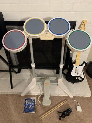 Nintendo Wii Rock Band Set Drums Pedal Wireless Fender Guitar Dongle Mic & Game for Sale in Fremont, CA