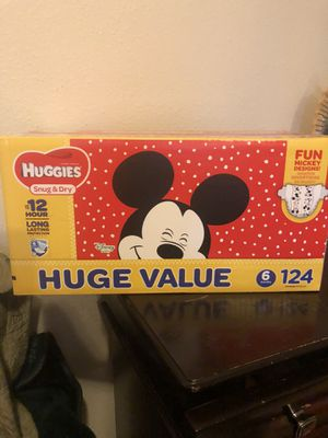 HUGGIES 124 DIAPERS SIZE 6 for Sale in Tacoma, WA