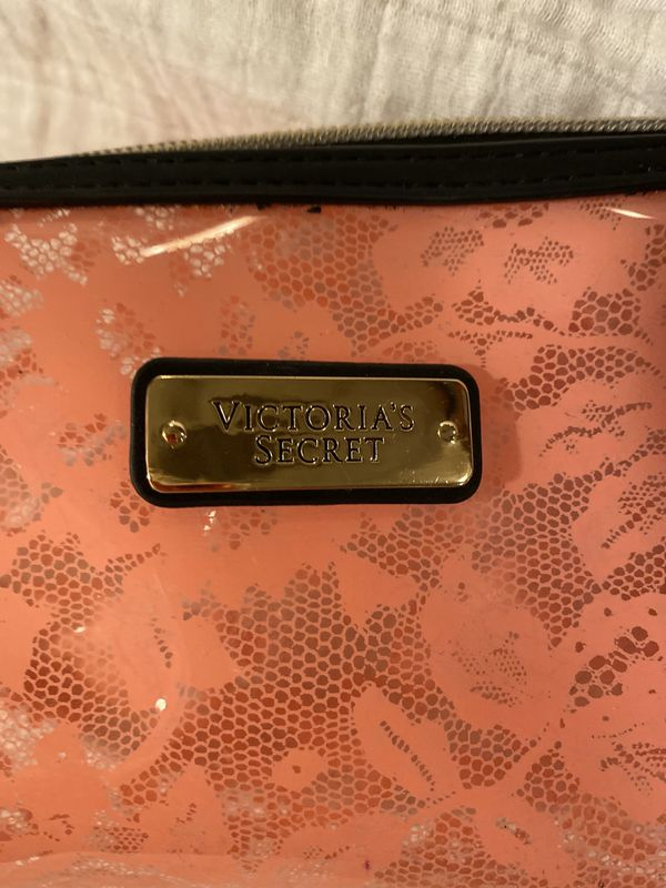 Victoria Secret Plastic Pint Faux Lace Small Make-up/Carry All Bag