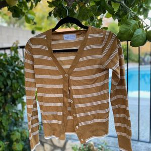 Trendy women's bronze color striped button up sweater. Preloved garment <3 Condition : good Size : S Purchased in a local boutique, Nectar for Sale in Pomona, CA