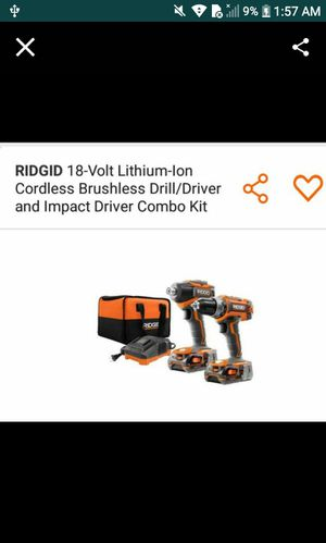 Ridgid cordless impact driver and drill 2 batteries charger carry bag for Sale in Temecula, CA