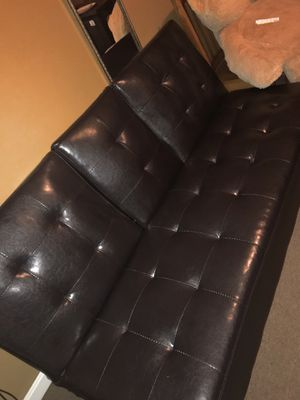 Dark brown leather futon for Sale in Barnstable, MA