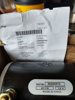 Motorhome slide motor replacement. Part numbers in pic. Brand new in box. It's the black one. for Sale in Olympia,  WA