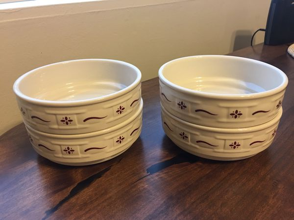 Set of 4 Longaberger Traditional Red Cereal Bowls