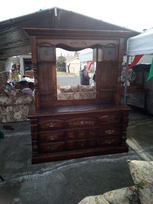 Oak dresser with mirror for Sale in Stockton, CA
