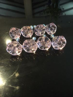 Pink plastic flower drawer knobs for Sale in Brea, CA
