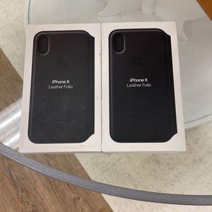 Apple iPhone X Leather Folio CasBlack for Sale in Orlando, FL