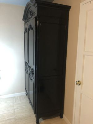 """Real wood, 4 Shelves Wardrobe, Heavy and Stable, Black, European, 52""""Lx23""""Wx89""""H for Sale in Henderson, NV"""