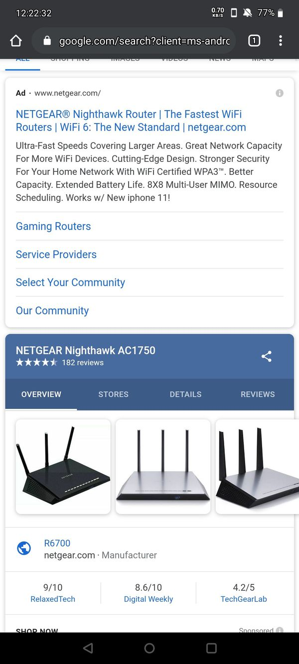 Netgear Nighthawk Ac1750 model R6700V2
