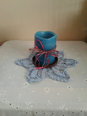 blue battery operated candle with holder for Sale in Colton, CA
