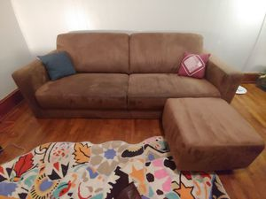 Nice Brown Couch Sofa with Ottoman for Sale in Charlottesville, VA
