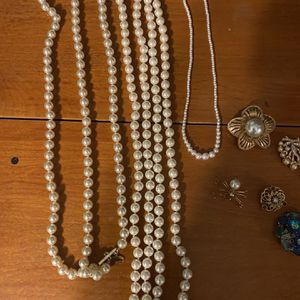 Vintage Costume jewelry Faux Pearls And Brooches for Sale in Medina, OH