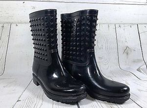 BLACK STUDDED RAIN BOOTS SIZE 9 for Sale in Cranberry Township, PA