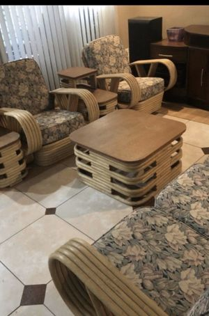 Vintage Paul Frankl style rattan MCM living room pieces. (Tempe) for Sale in Tempe, AZ
